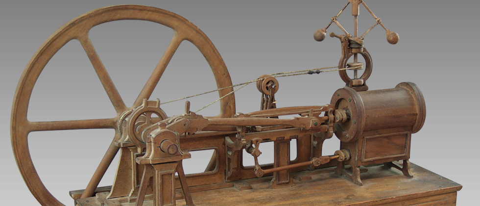 XIXth steam engine wood model
